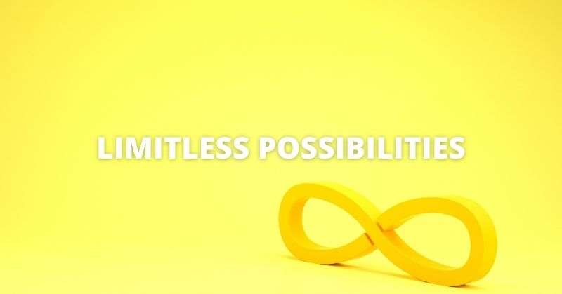 Limitless possibilities banner with an etirnity symbol
